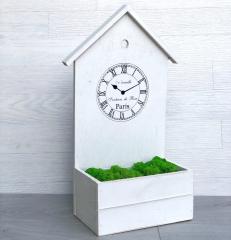 Деревянное стильное кашпо вазон для цветов Часы