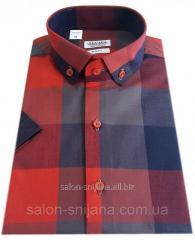 Мужская рубашка приталенная с коротким рукавом в клетку №T 12-27 - 40-207 V4
