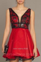 Платье коктейльное Красное с черным гипюром
