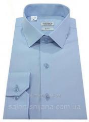 Рубашка мужская приталенная №10-12к.- Поплин голубой
