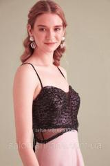 Платье вечернее Пудра с люрексом + черный
