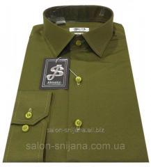 Мужская рубашка приталенная из сатина - № 10-12