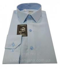 Рубашка мужская классическая №10-32 - диагональ голубая