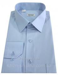 Рубашка мужская голубая №10 - поплин голубой