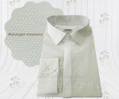 Сорочка чоловіча молочна/айворі з фактурної тканини 8115/3 №10-123