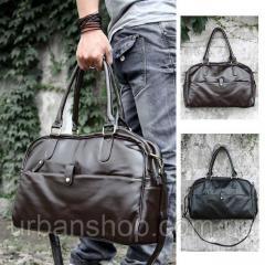 Чоловіча сумка екошкіра Moonar. Темно-коричнева. Є