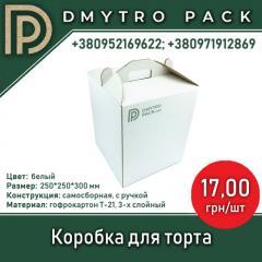 Коробка для торта картонная белая 250х250х300 мм