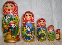 Матрешка расписная с сюжетом сказки из 5-ти штук