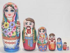 The Ukrainian painted nested doll from 7 pieces small 706