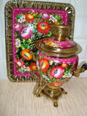 """Samovar + tray, """"Flowers on a crimson"""