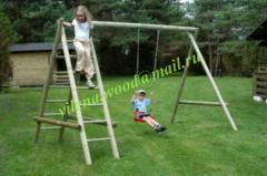 Качеля деревянная для детей, одинарная с двумя