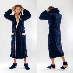 Банный мужской халат пушистая мягкая махра 48-52 в