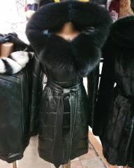 Женский кожаный пуховик Турция размеры 42-56