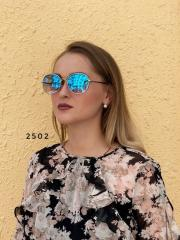 Стильные голубые очки в серебряной оправе