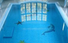 Дельфин и морские звезды в мозаике для бассейна