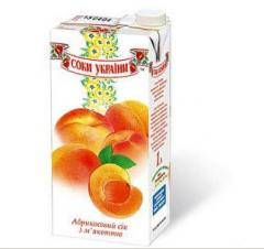 Juice natural apricot Juice of Ukraine trademark