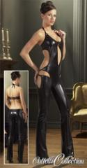 Black latex overalls with an open back