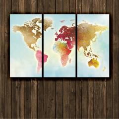 """Модульная картина """"Карта мира. Цветная"""