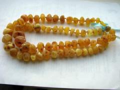 Unpolished beads, unpolished beads from amber