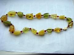The polished beads from amber
