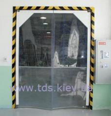 Doors from polyvinylchloride. Shock pendular doors