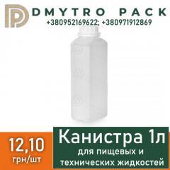 Канистра 1 л пластиковая прозрачная (бутылка) HDPE