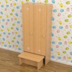Шкаф детский для раздевалки с лавкой