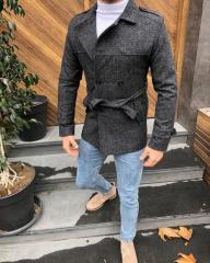 Черное мужское пальто SMM
