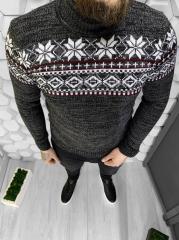 Серый мужской свитер с узором