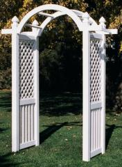 Plastic arches, garden benches, little tables for
