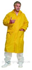 Плащ прорезиненный ПВХ, желтый. Плащ влагозащитный