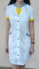 Женский медицинский халат Радуга с коротким