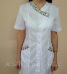Женский медицинский халат Кати с коротким рукавом