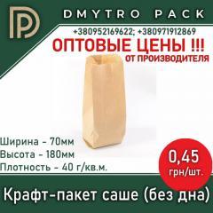 Пакет крафтовый бумажный саше 70*180 мм бурый