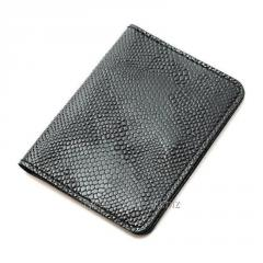 Обложка на пластиковыйID паспорт, права из натуральной кожи черного цвета (питон)