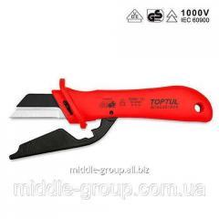 Нож для снятия изоляции с пяткой TOPTUL 1000V VDE