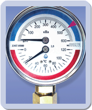 Manometers with the thermometer (wide choice)