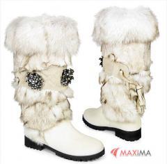 Boots on fur, footwear winter female wholesale