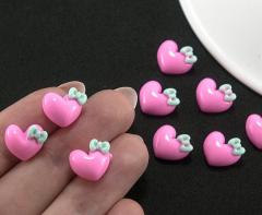 """(10шт) Объёмные кабошоны,серединки 11х10мм """"Сердечки"""" Цвет - розовый (сп7нг-1036)"""