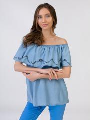 M22-230023, Женская блузка, женский, голубой-джинс