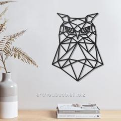 Сова Деревянный декор на стену Фанера черная Сова