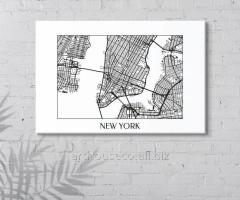 Нью Йорк карта Нью Йорк плакат Картина города
