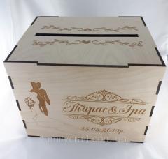Свадебная деревянная шкатулка для денег конвертов