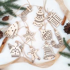 Новогодние деревянные игрушки украшения из дерева
