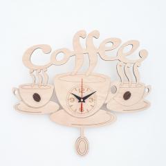 Настенные деревянные часы для кухни Coffee  с
