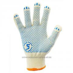 Перчатки трикотажные уплотненные хб с ПВХ точкой