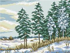 АМС-113. Набір алмазної мозаїки Зимовий пейзаж.