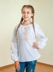 Вишиванка дитяча для дівчинки Леся (коричнева) 140