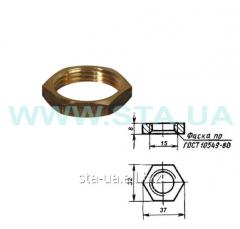 Brass lock-nut of 15 mm of GOST 8968-75
