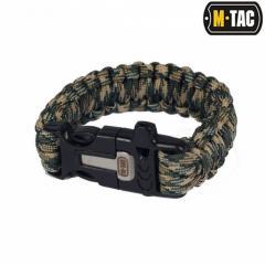 M-Tac браслет-паракорд с искровысекателем и свистком olive / tan
